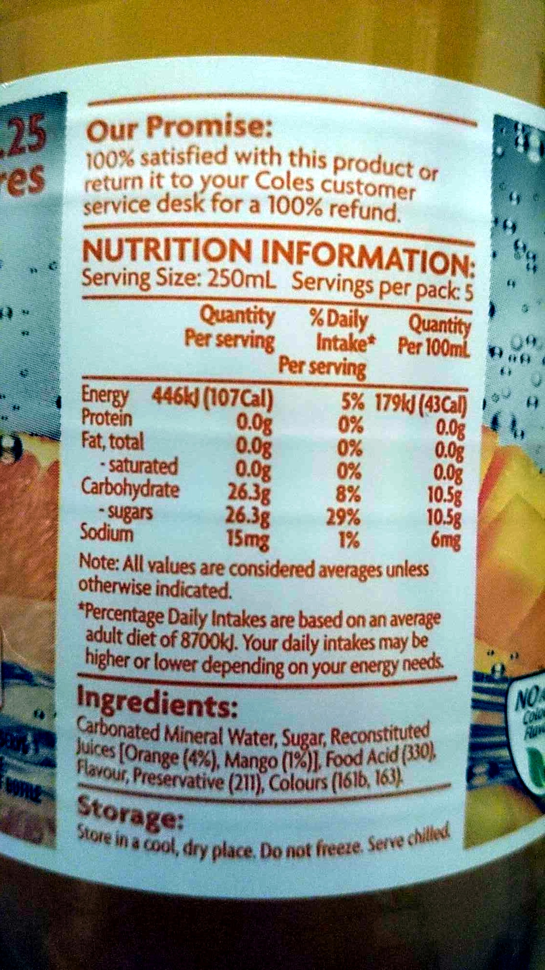 Coles Orange and Mango Mineral Water - Nutrition facts