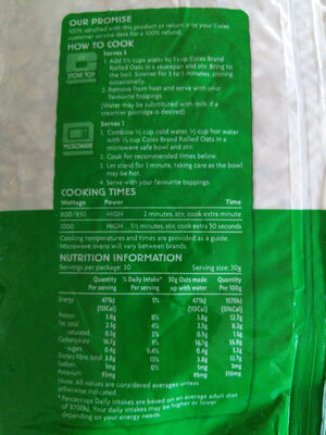 Rolled Oats - Nutrition facts - en