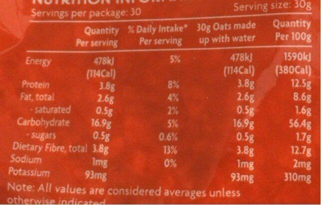 Quick Oats - Informations nutritionnelles - en