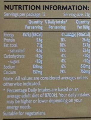 Coles Australian Vintage Cheddar Slices - Nutrition facts