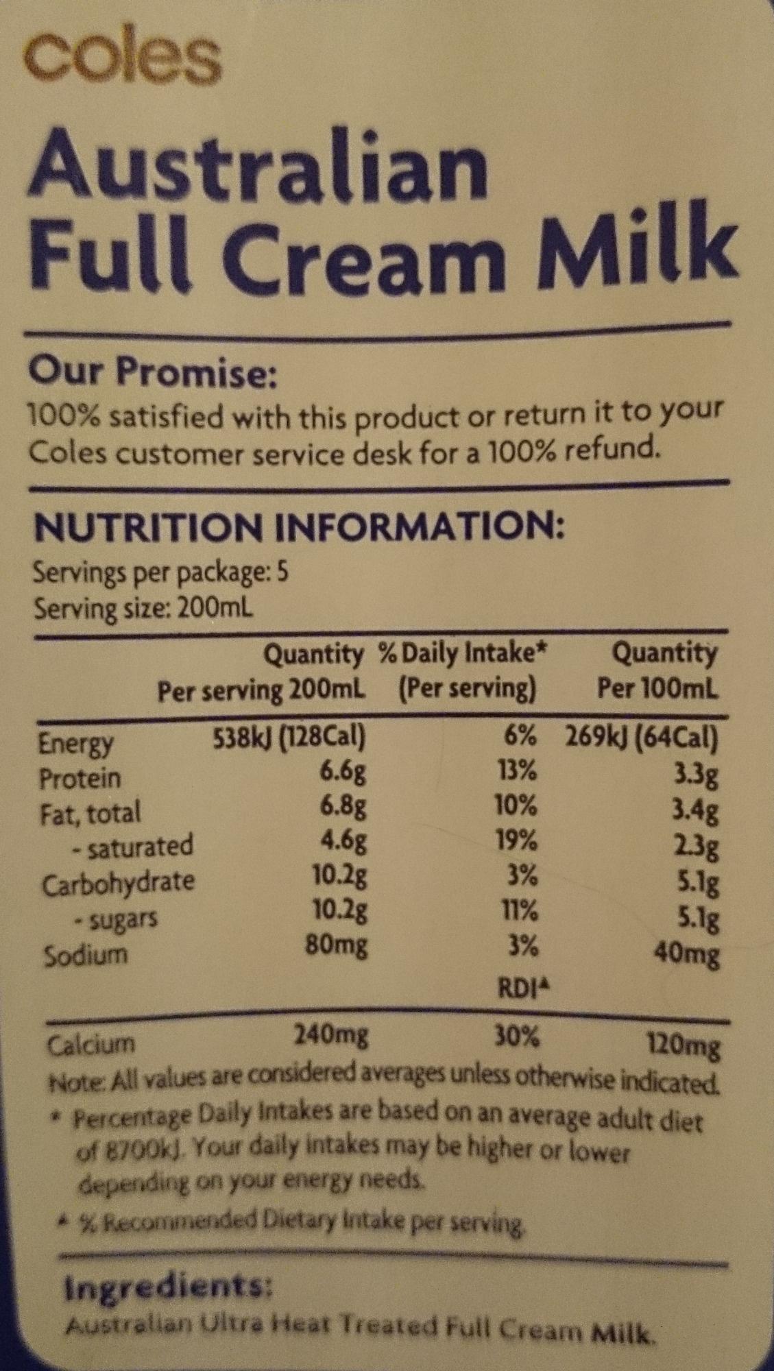Coles australian full cream milk long life 1 litre for Australian cuisine facts