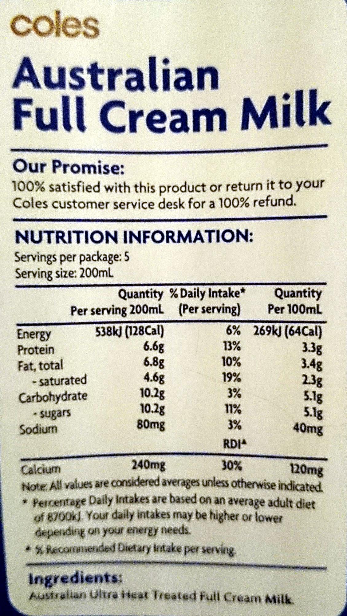 Coles Australian Full Cream Milk Long Life - 1 Litre