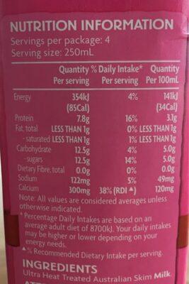 Skim milk - Nutrition facts
