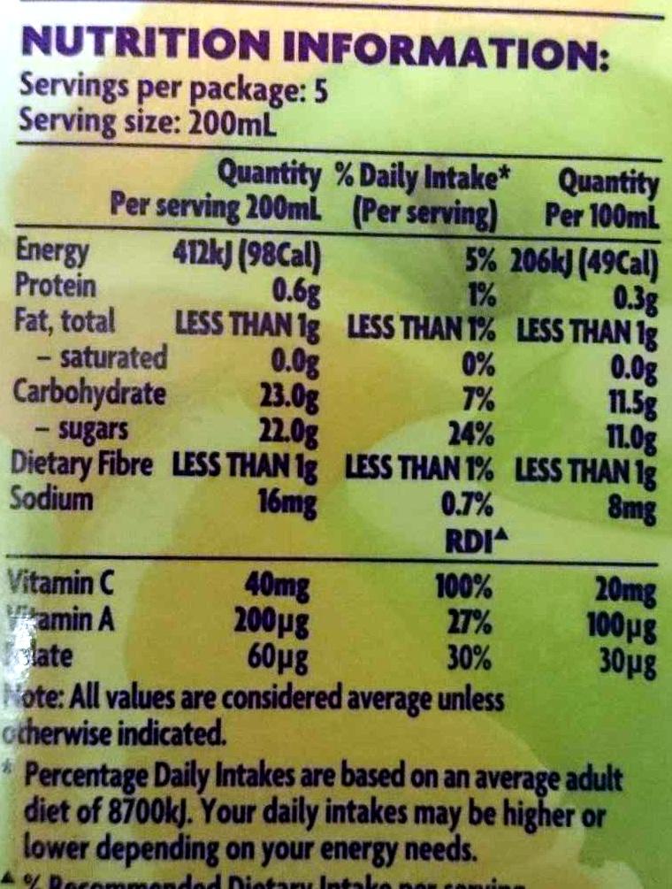 Viten Juice - Nutrition facts