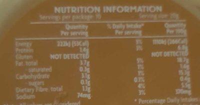 Coles hommus dip - Nutrition facts