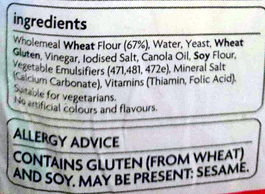 Wholemeal Sandwich - Ingredients