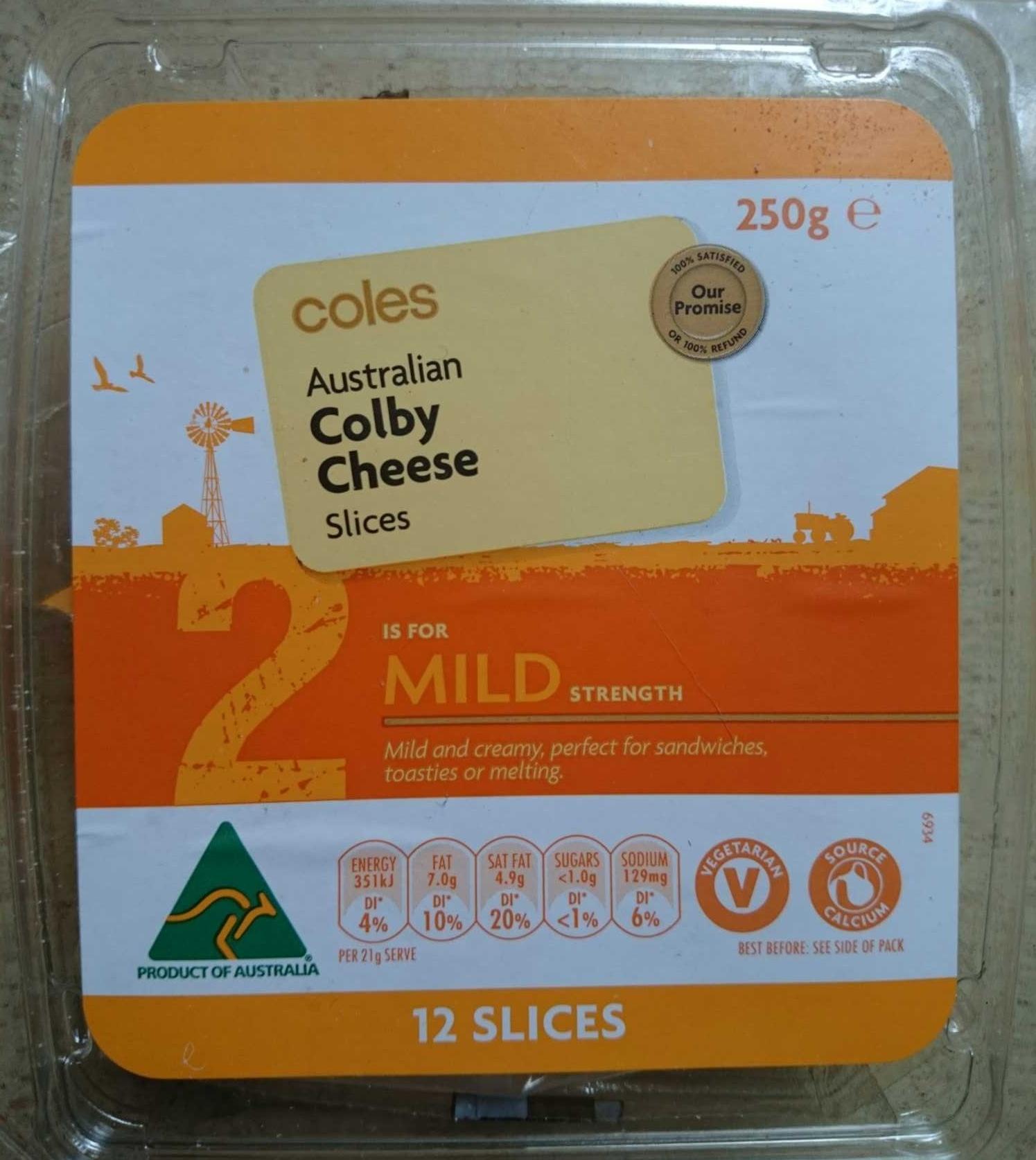 Australian Colby Chese Slices - Mild Strength - Product - en