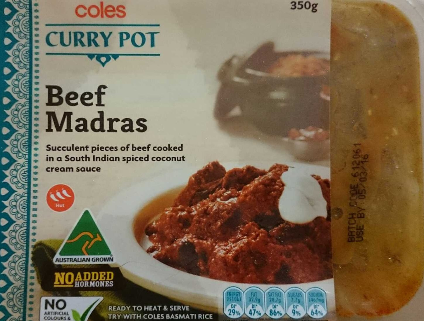 Coles Curry Pot Beef Madras - Product