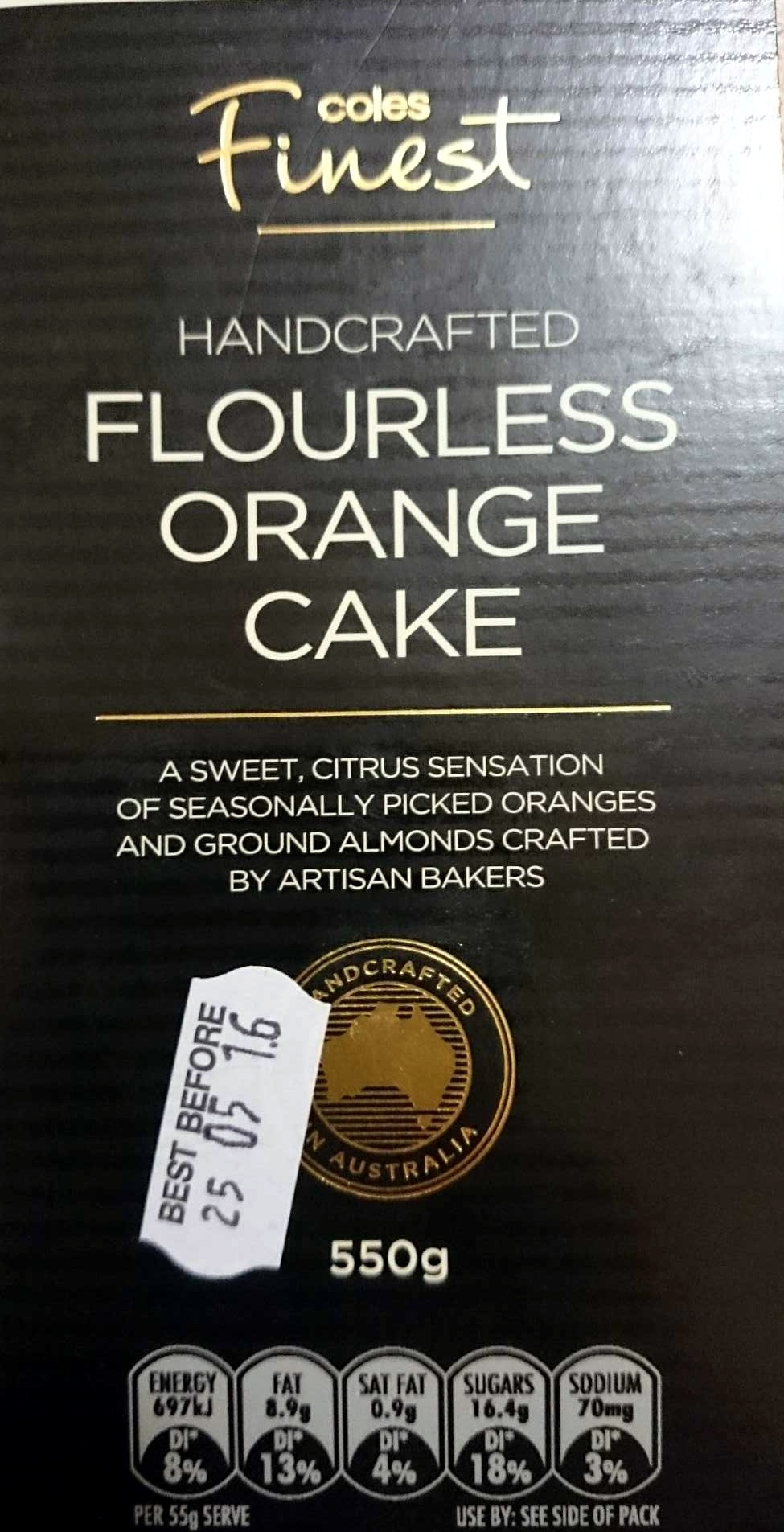 Handcrafted Flourless Orange Cake - Coles Finest - 550g
