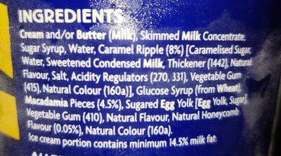 Coles caramel ice cream - Ingredients - en