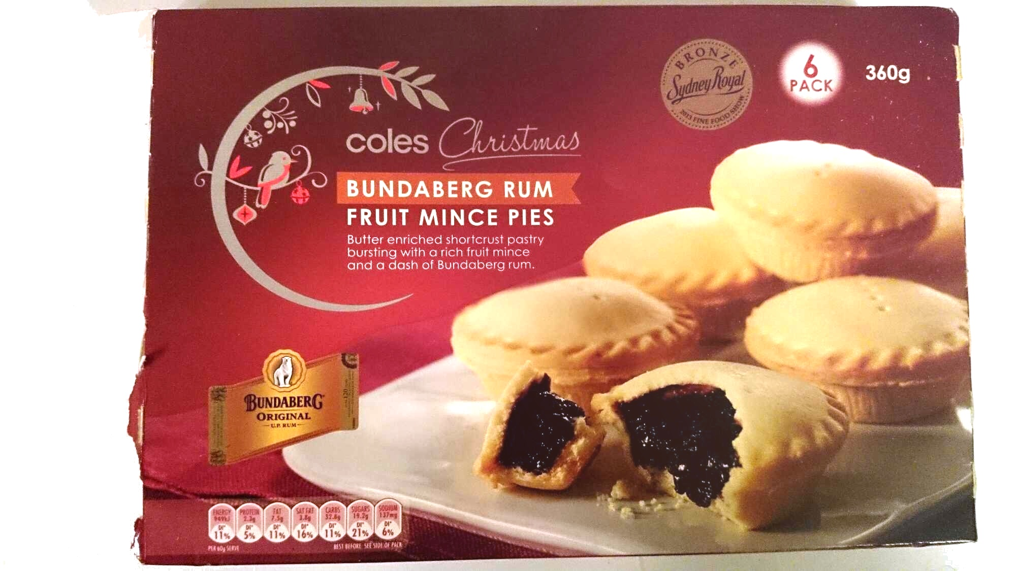 Coles Bundaberg Rum Fruit Mince Pies - Product - en