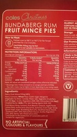 Coles Bundaberg Rum Fruit Mince Pies - Ingredients