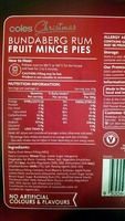 Coles Bundaberg Rum Fruit Mince Pies - Nutrition facts