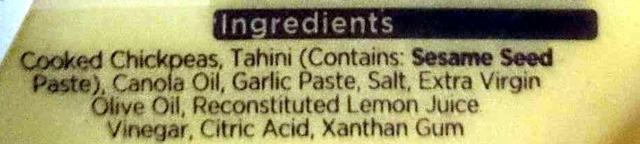 Simply Less - Light Hommus Dip - Ingredients - en