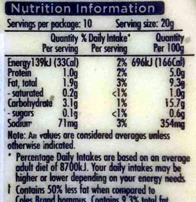 Simply Less - Light Hommus Dip - Nutrition facts - en