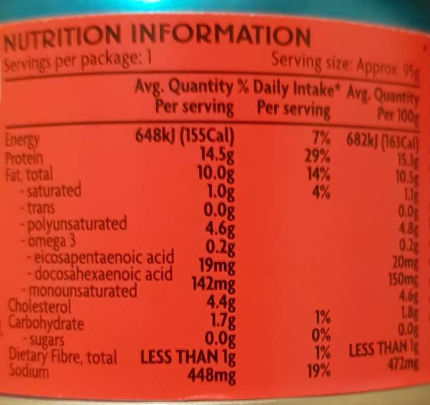 Tuna Spicy Chilli - Nutrition facts