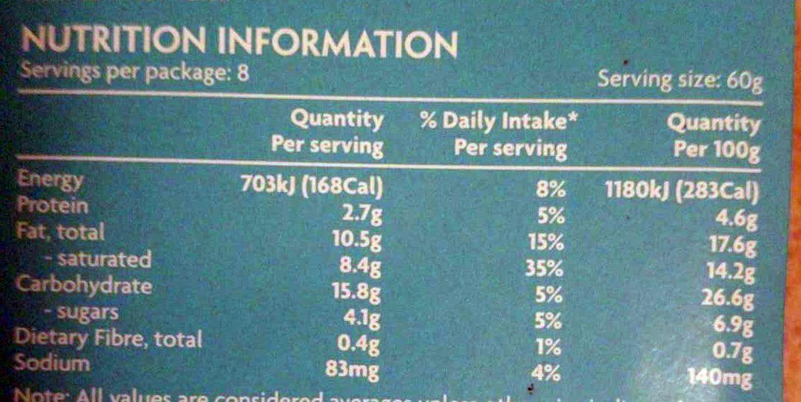 Tiramisu mousse cake - Nutrition facts - en