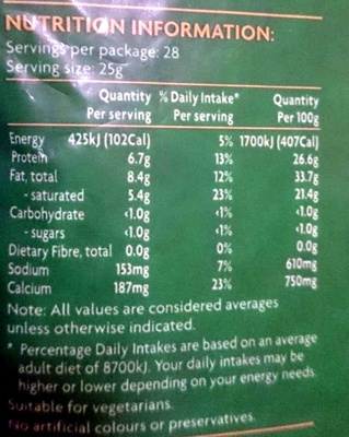 Australian Tasty Cheddar Shredded - Mature Strength - Nutrition facts - en