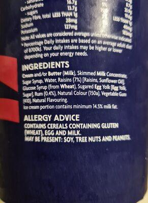 rum and raisin ice cream - Ingredients - en