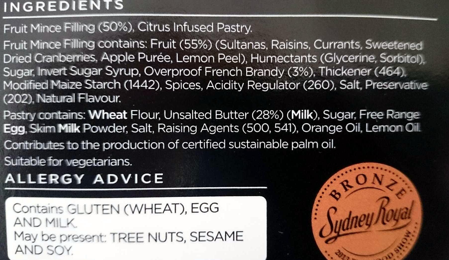 Christmas Fruit Mince Pies - Ingredients - en