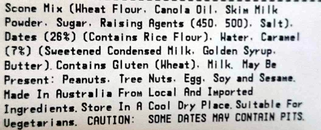 Rustic Scones Sticky Date - Ingredients - en