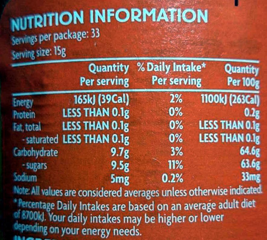 Breakfast Marmalade - Voedingswaarden - en