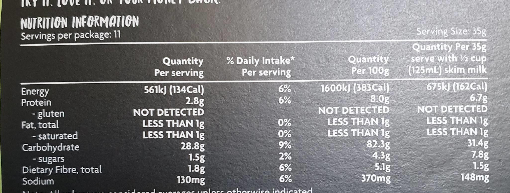 Coles corn flakes - Nutrition facts - en