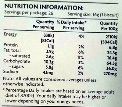 Chocolate Chip Cookies - Nutrition facts - en