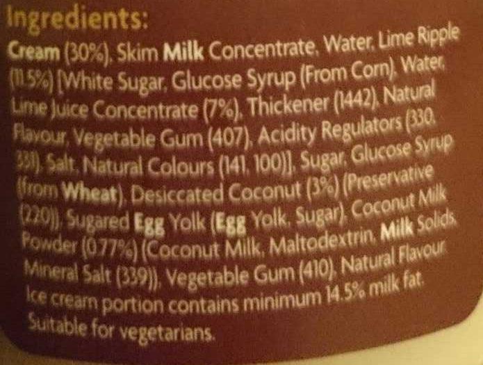Coconut Lime Ice Cream - Ingredients