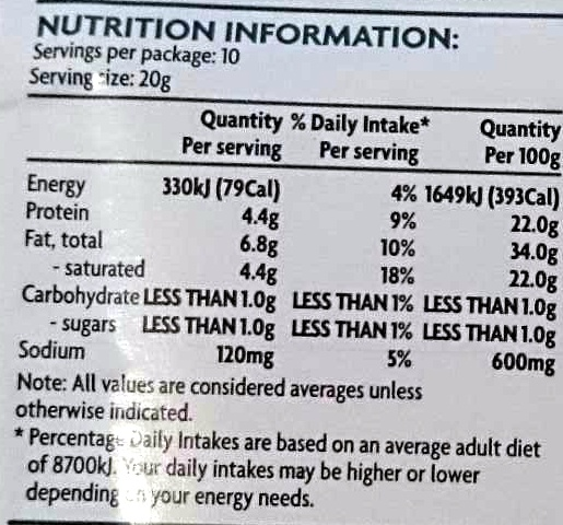 Havarti Cheese Slices - Voedingswaarden - en