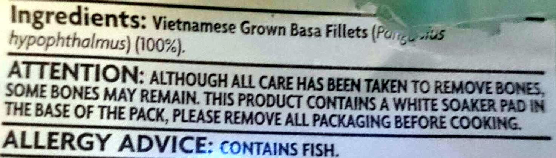 Basa Fillets Boneless & Skin Off - Ingredients