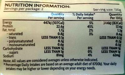 Basa Fillets Boneless & Skin Off - Nutrition facts