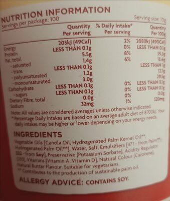 Regular Spread - Ingredients - en