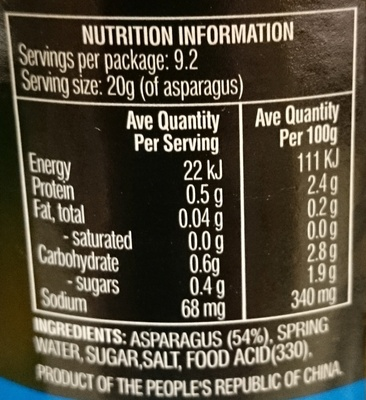 Always Fresh Springwater Asparagus - Nutrition facts