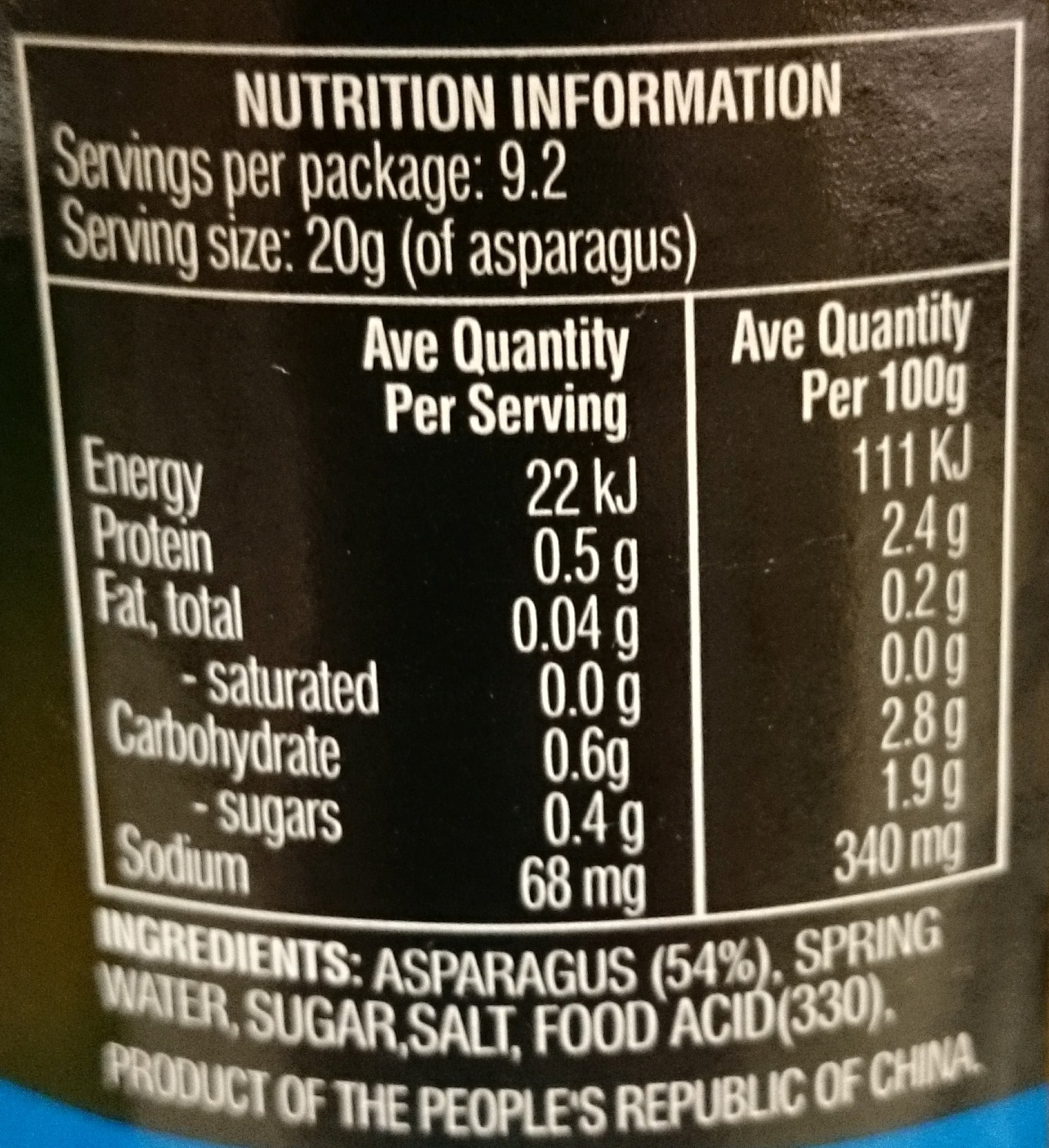 Always Fresh Springwater Asparagus - Nutrition facts - en