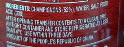 Champignons Whole - Ingredients