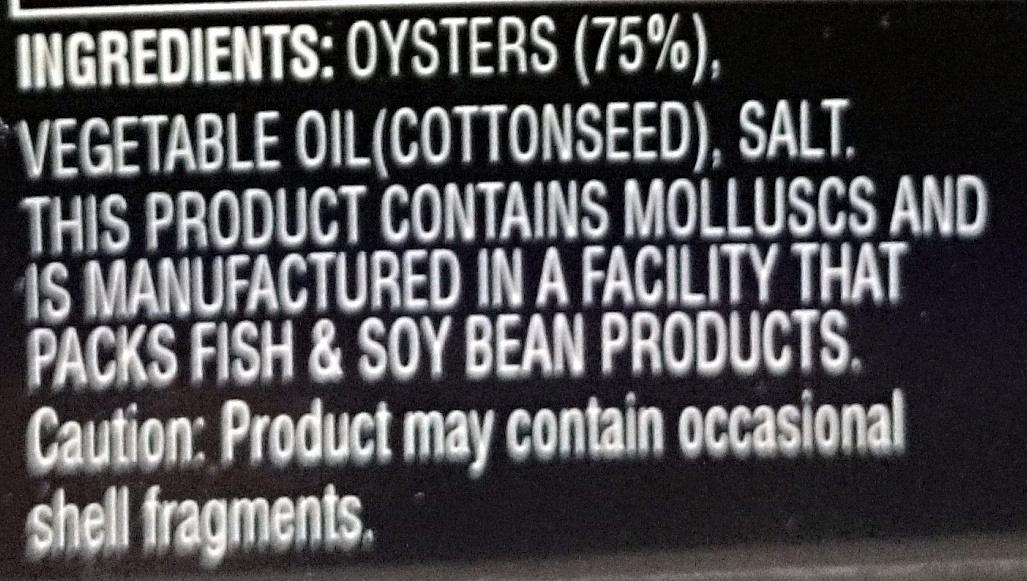 Always Fresh Oysters Preserved in Oil - Ingredients - en