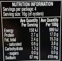 Always Fresh Oysters Preserved in Oil - Nutrition facts - en