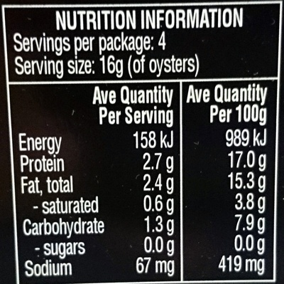 Always Fresh Oysters Preserved in Oil - Nutrition facts