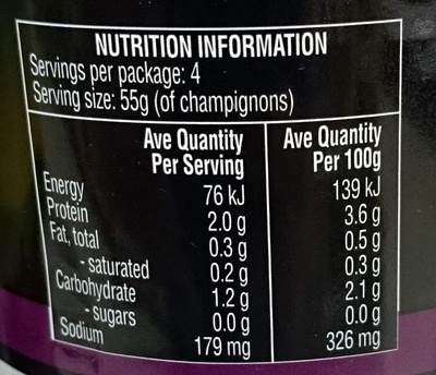 Champignons Mushrooms Pieces & Stems Hand Picked - Nutrition facts