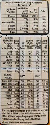 Oat Crisp - Giá trị dinh dưỡng - fr