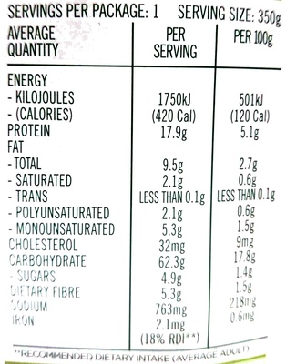Steam Chicken Chick Pea Curry with Brown Rice & Quinoa - Nutrition facts - en