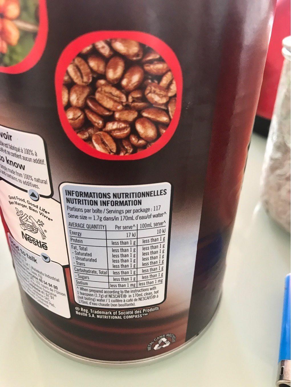Nescafé - Voedigswaarden