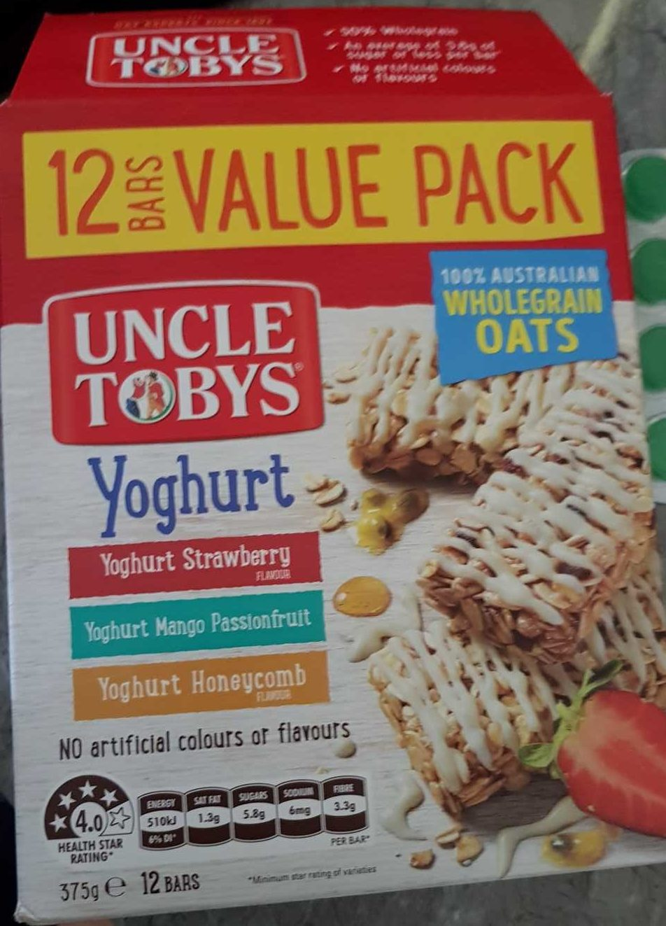 Uncle Tobys Yoghurt 12 Bar Value Pack - Product