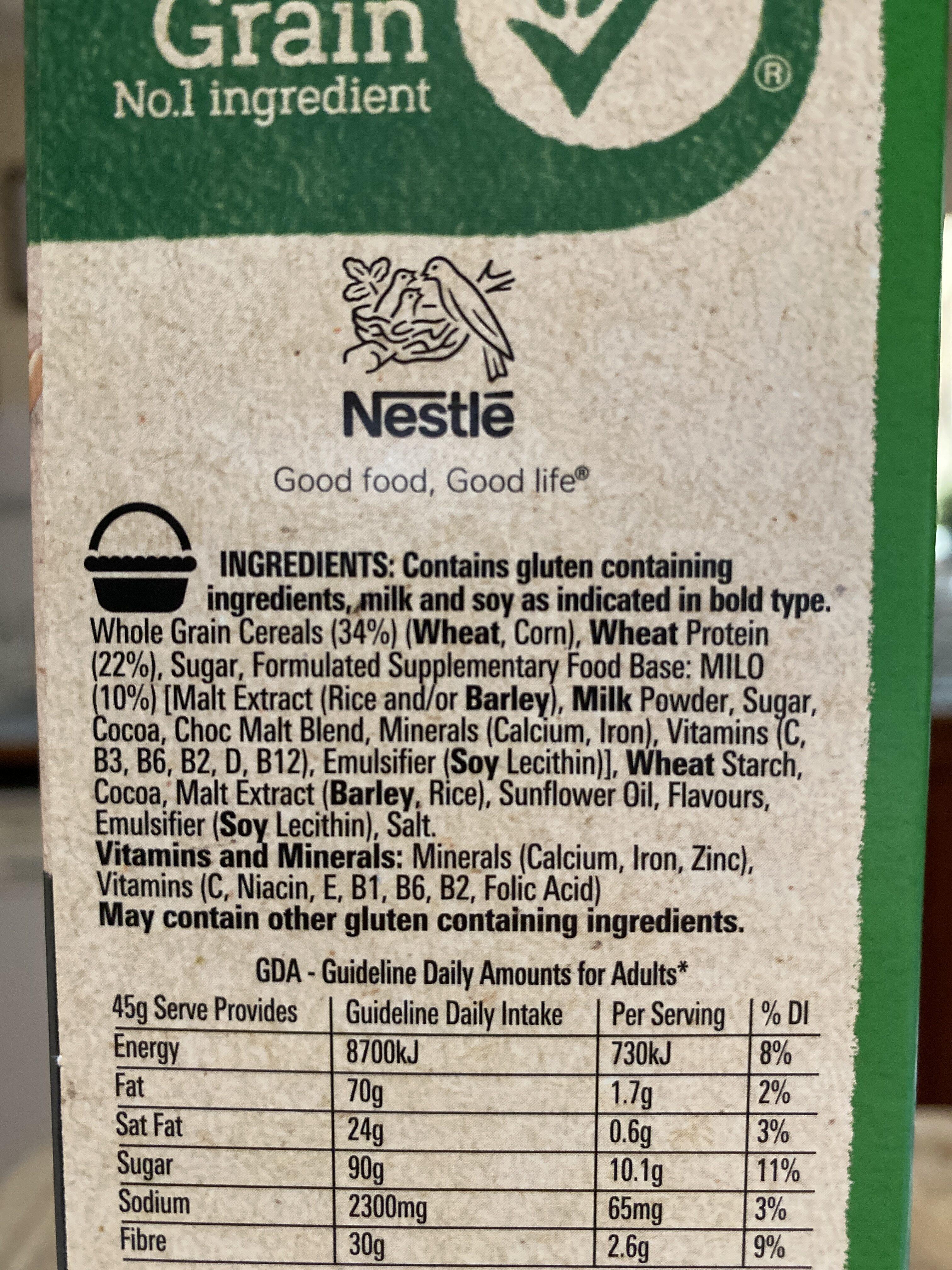 Milo high in protein - Ingredients - en