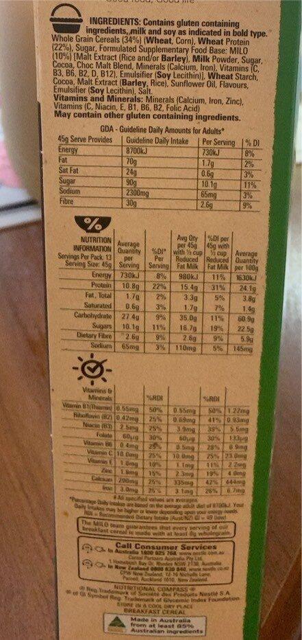 Milo high in protein - Nutrition facts - en