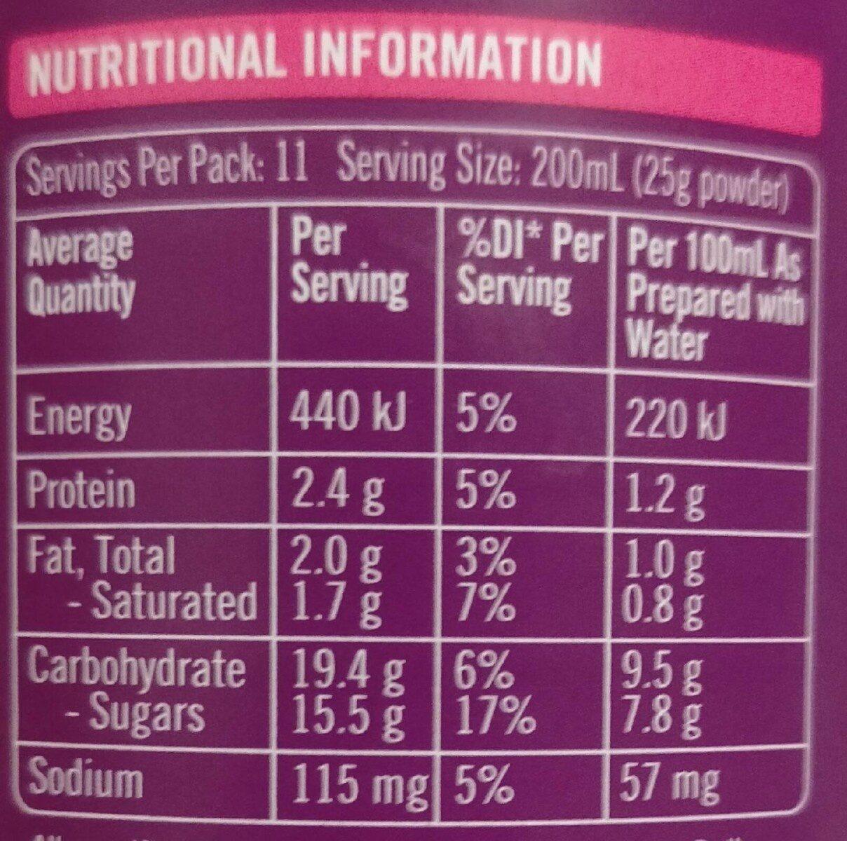 Choc fudge hot chocolate - Nutrition facts - en
