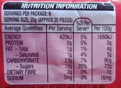 Skittles - Informations nutritionnelles - en