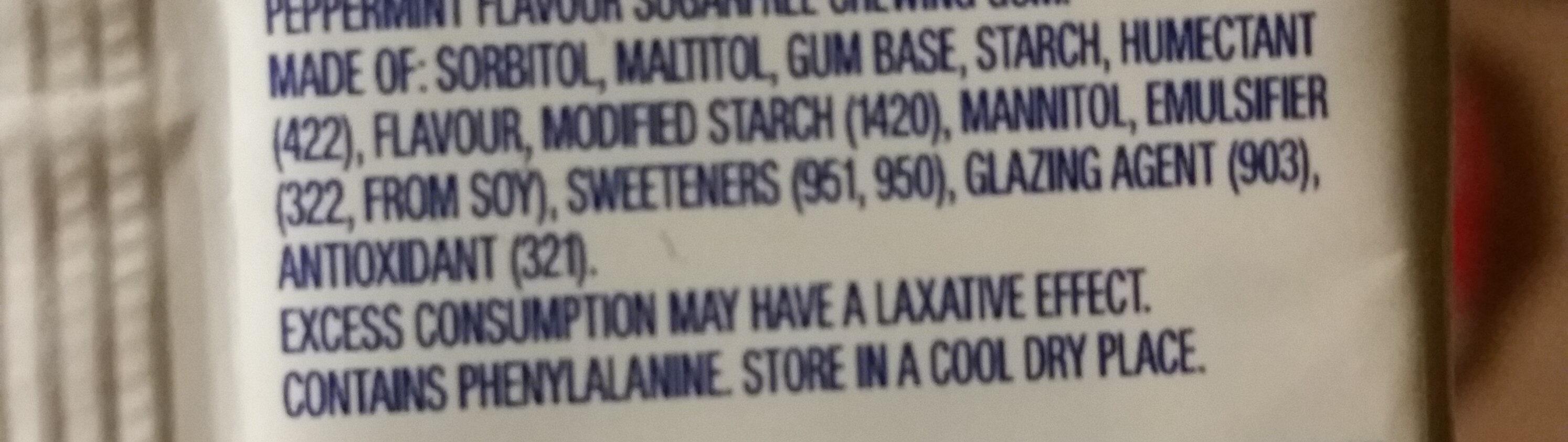 Wrigley's Extra Peppermint Sugarfree Chewing Gum - 4 Pack - Ingredients - en