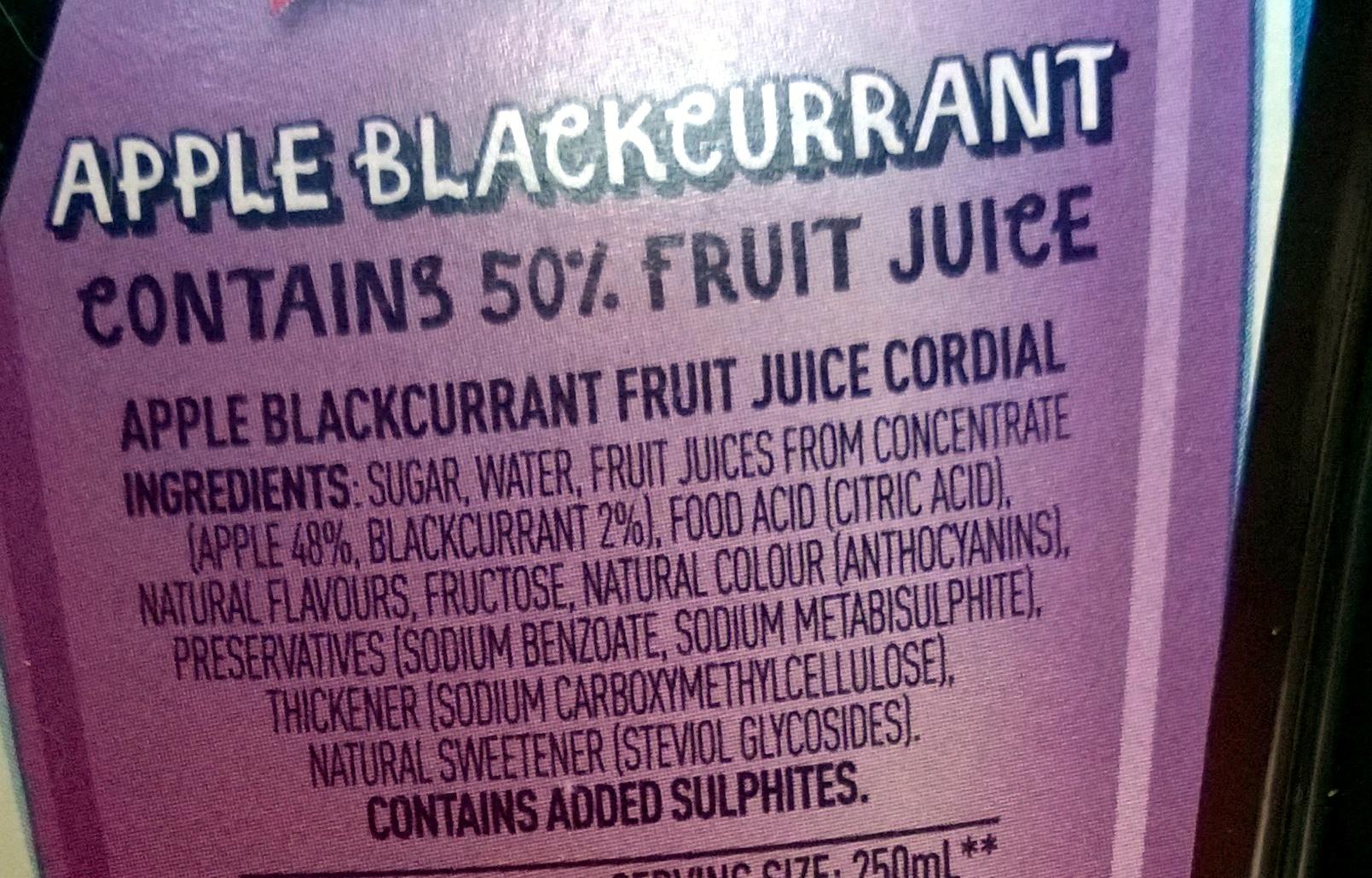 Apple blackcurrent fruit juice cordial - Ingredients - en
